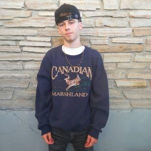 Retro 90's Marshlands Deer Pullover Sweatshirt